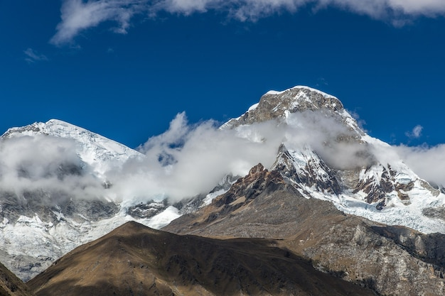 Wonderful shot of a summit in peru on a winter weather