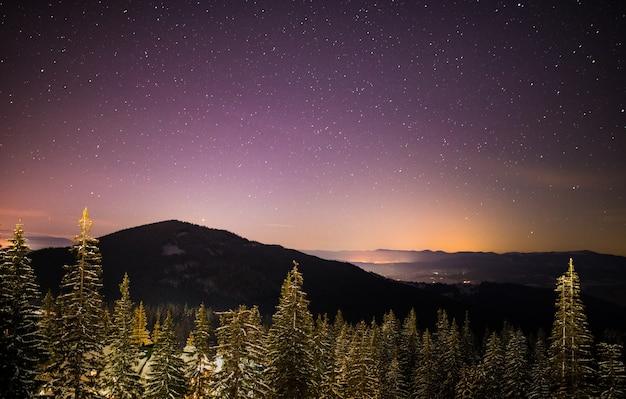 아름다운 별이 빛나는 하늘은 산과 나무 사이에있는 스키 리조트의 그림 같은 전망 위에 있습니다.