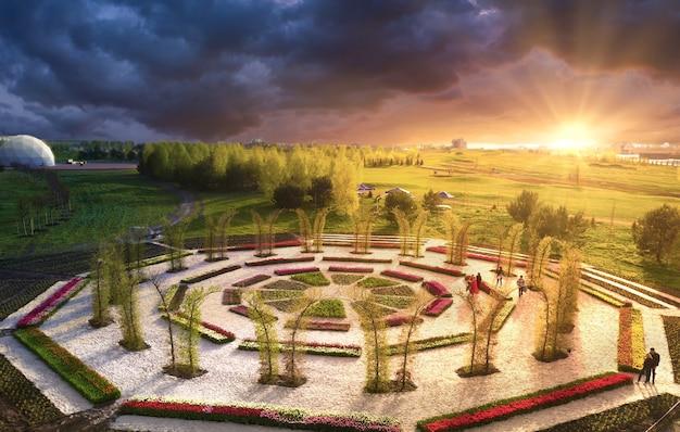 素晴らしい夏の風景。公園の日の出に咲くチューリップと丸い花壇。瞑想に最適な場所です。とヨガのクラス。
