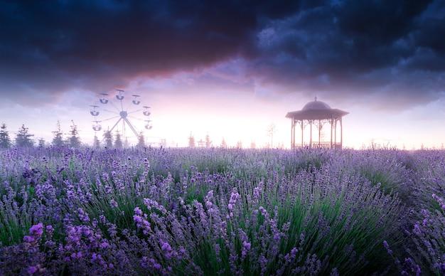 Замечательный летний мистический драматический пейзаж. лавандовое поле, пустая беседка и тяжелые тучи на рассвете.