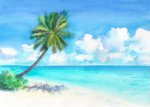 Wonderful tropical beach with palm tree. watercolor hand drawn illustration.