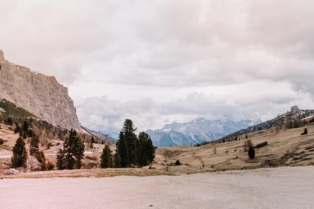 遠くの高山と曇った灰色の空の素晴らしい景色を早朝に