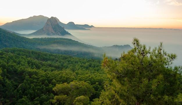 北キプロスの5本の指の山の望楼の1つで海と海に沿って走る山々の素晴らしい景色