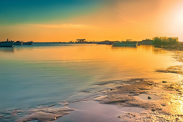 日の出の地中海沿岸の素晴らしい景色