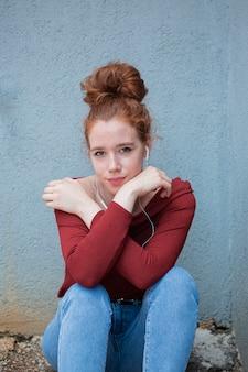 Wonderful young woman looking at camera