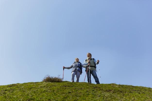 궁금하고 행복합니다. 화창한 날에 나무 근처에 녹색 잔디밭에서 산책하는 관광 복장에 남자와 여자의 세 가족 커플