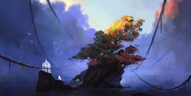 Wonderland at the bottom of the lake, digital illustration.