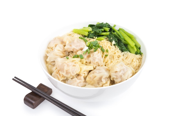 Wonton and egg noodle soup of chinese cantonese style for asian cuisine