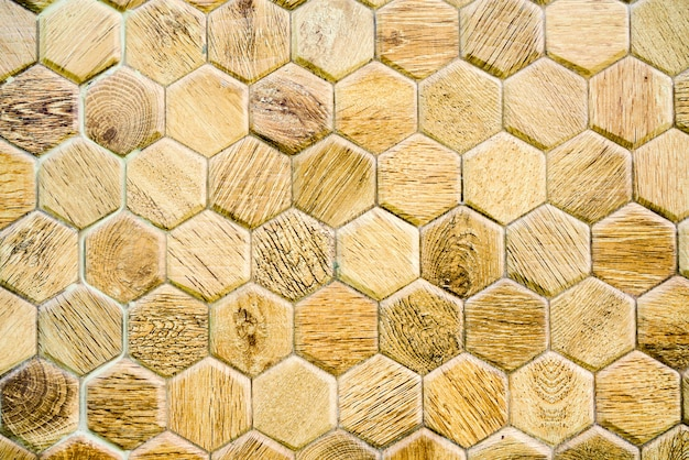 Wood abstract background hexagon