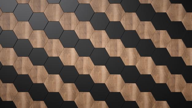 木と黒のセラミック六角形。斜めのシームレスパターン。