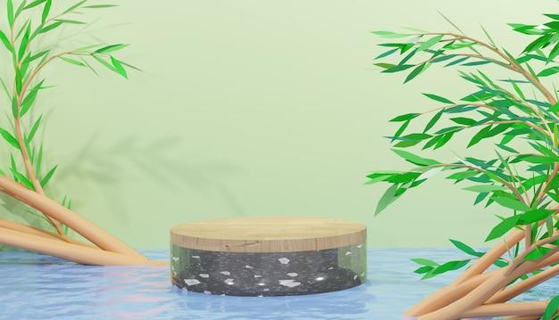나무와 검은색 테라조 연단 디스플레이 3d 렌더링 물 리플 반사 및 잎 프리미엄