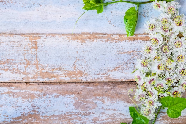 Wood background with flowers