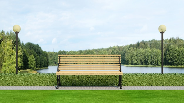 Wood bench in park and lake view