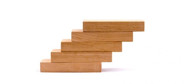 Wood block stacking as step stair