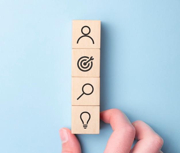 Wood blocks with symbols