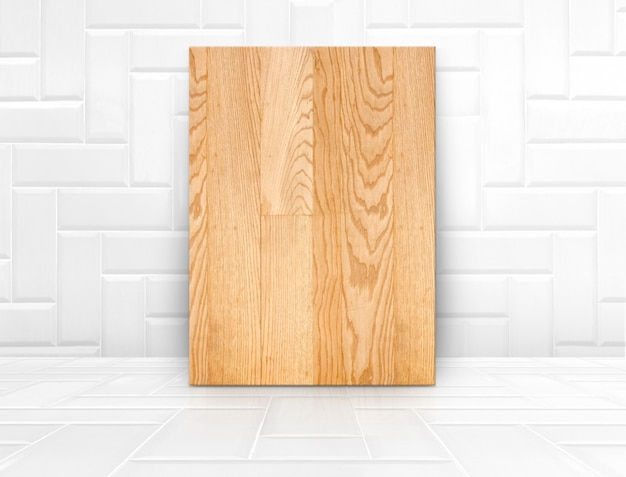 Wood board mock up in glossy white  tile  ceramic room,modern texture background