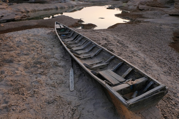 Wood boat on cracked soil,global warming.