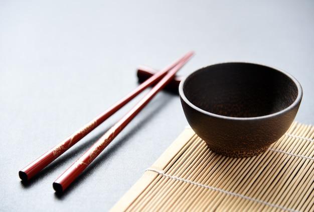 Wood bowl and chopsticks food set oriental style