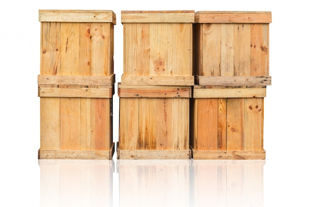 Wood box  goods cargo container in shipping wooden box for transport isolated on white