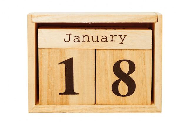 Wood calendar isolated on white