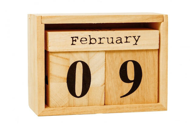 Wood calendar isolated on white