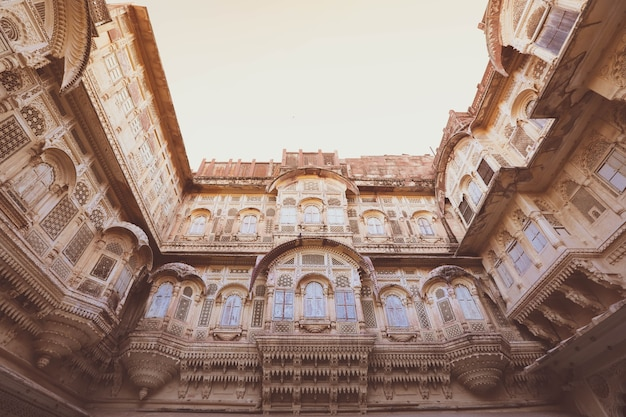 Wood carved windows in the blue city of jodhpur, rajasthan , india.