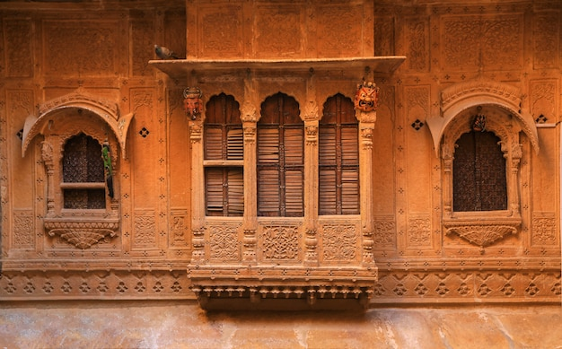 Wood carved windows in the blue city of jodhpur