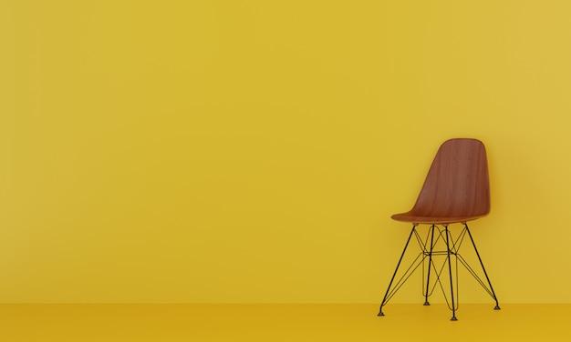 黄色のリビングルームの木製の椅子。 3dレンダリング。