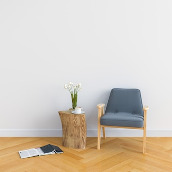 Wood chair in white room for mockup