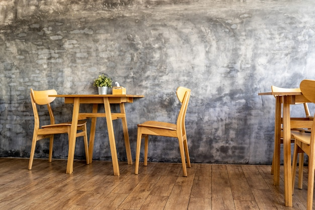 Wood chairs and counters in the cafe