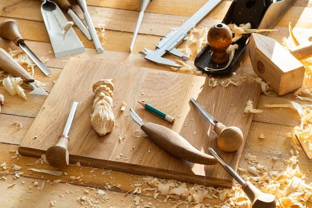 Wood chisel carpenter carving