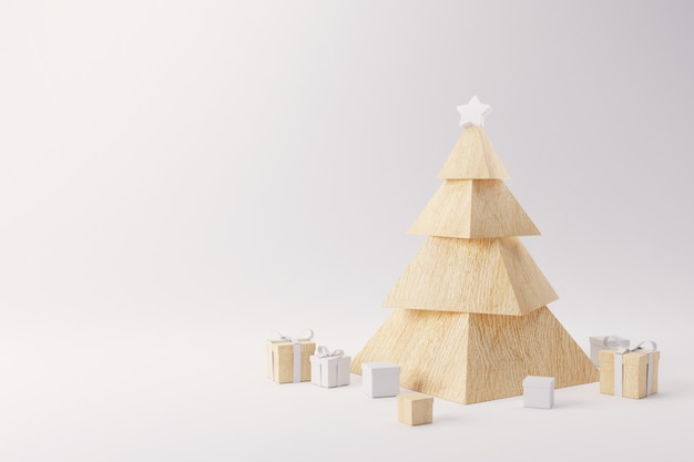白い背景の上のプレゼントと木製のクリスマスツリー。幸せな休日。