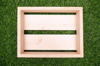 wood Craft, Wooden Box with Green Grass