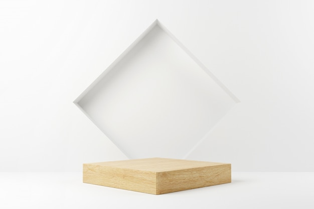 Wood cube podium stage in white background.