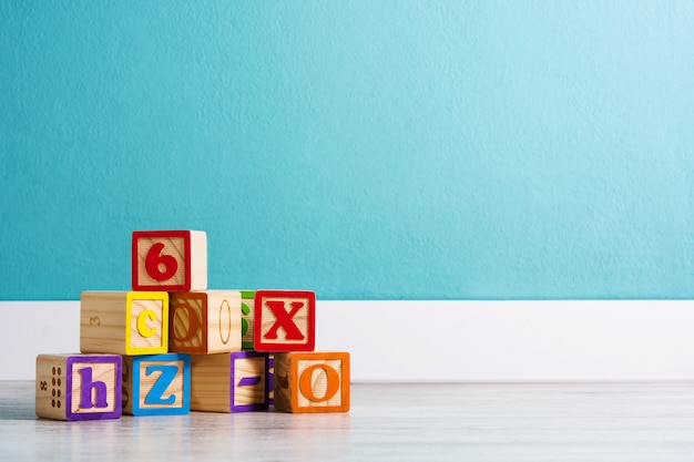 Wood cubes with letters and numbers in a baby's room