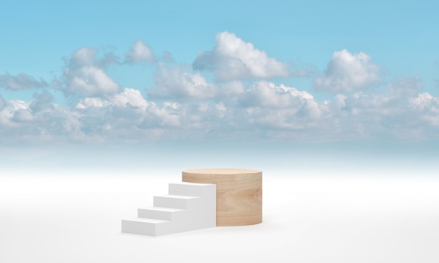 Wood cylinder podium against white ladder above the blue sky cloud background. 3d render