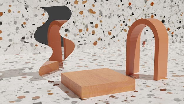 Wood cylinder podium, product display stand on floor mosaic background