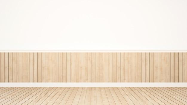 Wood decoration in empty room - 3d rendering