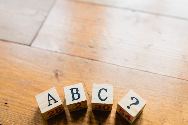 Wood dice with letters abc and interrogation.