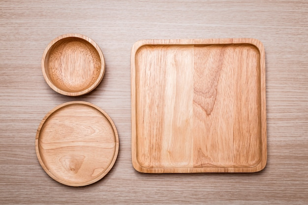 Wood dish on the wooden