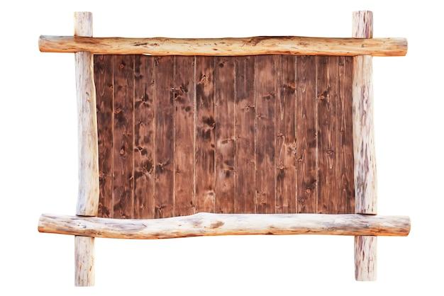 白い背景で隔離の丸太で作られた木製の空のフレームボード