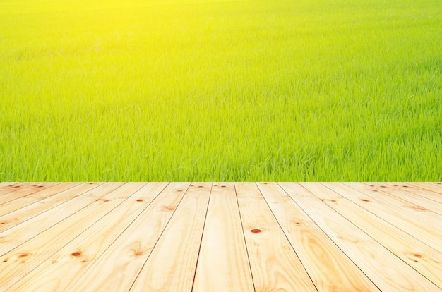 Wood floor with blurred trees of nature park background and summer season product display montage