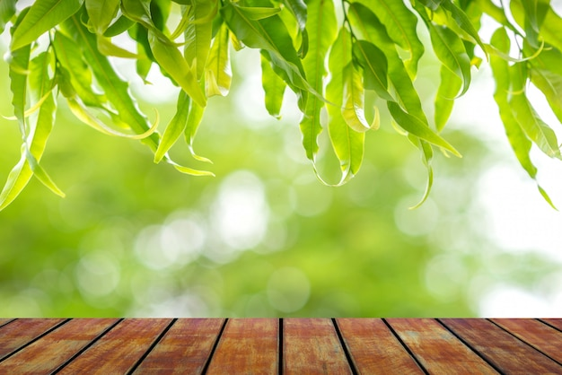 Wood floor with leaf nature