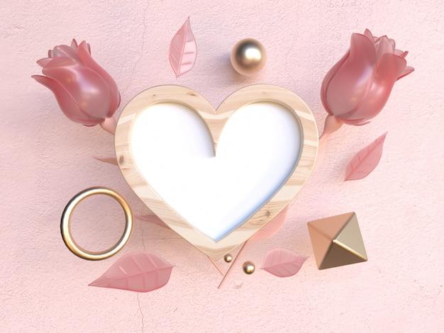 Деревянная рамка в форме сердца 3d рендеринг роза валентинка концепция