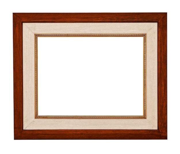 Деревянная рамка с пустым пространством на белом фоне