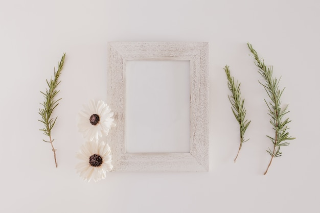 Wood frame with flowers