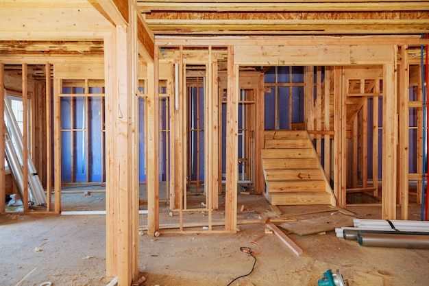 Wood framing work in progress with wood framing walls and ceiling or floor joist