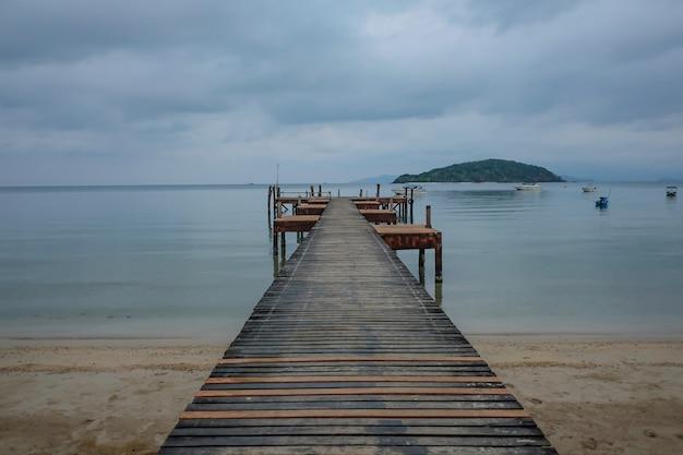 Wood harbor baot dock in the morning .koh mak island trat thailand