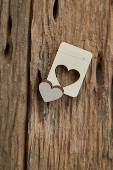 Wood heart valentine on wooden
