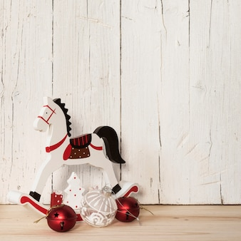 Wood horse with ornaments with empty space for text